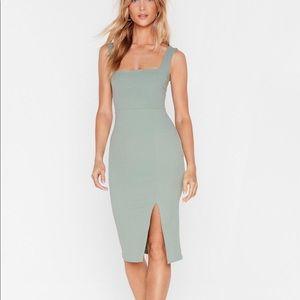Green, Square Neck Midi Dress